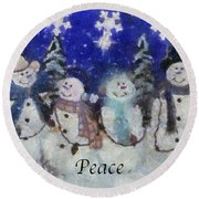 Snowmen Peace Photo Art Round Beach Towel