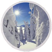 Snowscape Snow Covered Trees And Bright Sun Round Beach Towel