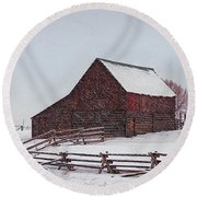 Snowstorm At The Ranch Round Beach Towel