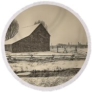 Snowstorm At The Ranch Sepia Round Beach Towel