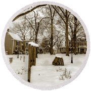Snowy Afternoon Round Beach Towel