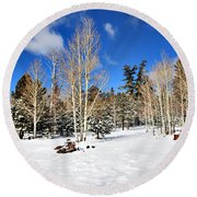 Snowy Aspen Grove Round Beach Towel