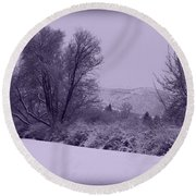 Snowy Bench In Purple Round Beach Towel