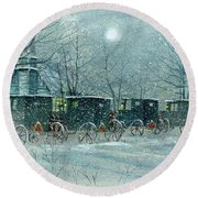 Snowy Carriages Round Beach Towel