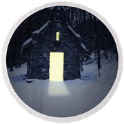 Snowy Chapel At Night Round Beach Towel