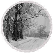 Snowy Country Road - Black And White Round Beach Towel