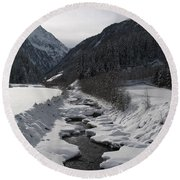 Snowy Creek Round Beach Towel