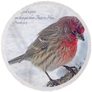 Snowy Day Housefinch With Verse  Round Beach Towel