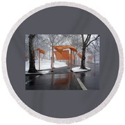 Snowy Day In Central Park Round Beach Towel