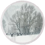 Snowy Day In The Tetons Round Beach Towel