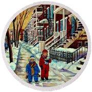 Snowy Day Rue Fabre Le Plateau Montreal Art Winter City Scenes Paintings Carole Spandau Round Beach Towel
