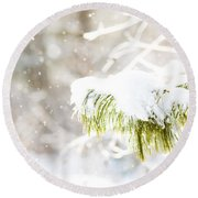 Snowy Evergreen Round Beach Towel