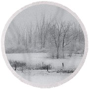Snowy Fields Round Beach Towel