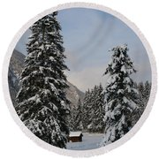 Snowy Fir Trees  Round Beach Towel