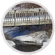 Snowy Foot Bridge Round Beach Towel