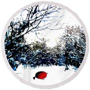 Snowy Forest At Christmas Time Round Beach Towel