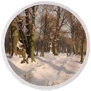 Snowy Forest Road 1908 Round Beach Towel