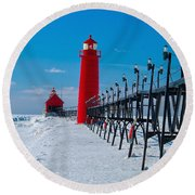 Snowy Grand Haven Pier Round Beach Towel