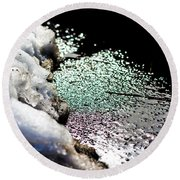 Snowy Lakeside Round Beach Towel