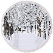 Snowy Lane In Winter Park Round Beach Towel