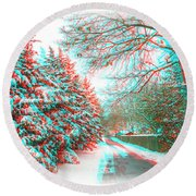 Snowy Lane - Use Red/cyan Filtered 3d Glasses Round Beach Towel