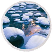 Snowy Merced River With Reflection Round Beach Towel