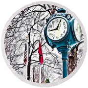 Snowy Morning - Oil Round Beach Towel