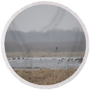 Snowy Morning On The Pond Round Beach Towel