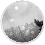 Snowy Mountain Round Beach Towel