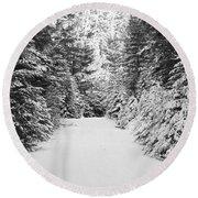 Snowy Mountain Road - Black And White Round Beach Towel