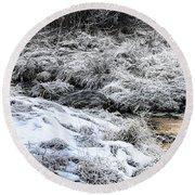 Snowy Mountain Stream V2 Round Beach Towel