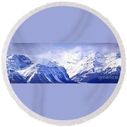 Snowy Mountains Round Beach Towel