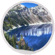 Snowy Mountains Reflected In Crater Lake Round Beach Towel
