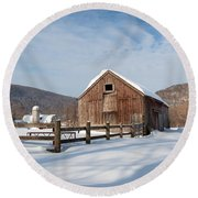 Snowy New England Barns Square Round Beach Towel