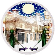 Snowy Night Round Beach Towel