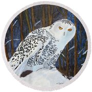 Snowy Owl Round Beach Towel