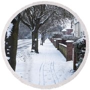 Snowy Path Round Beach Towel
