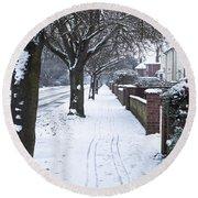 Snowy Path Round Beach Towel by Tom Gowanlock