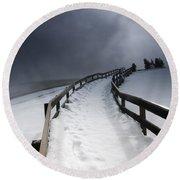 Snowy Pathway Round Beach Towel