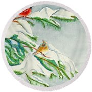 Snowy Pines And Cardinals Round Beach Towel