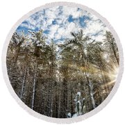 Snowy Pines With Sunflair Round Beach Towel