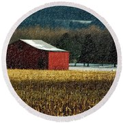 Snowy Red Barn In Winter Round Beach Towel
