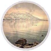 Snowy Reflections Round Beach Towel