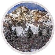 Snowy Ridge Above Bell Canyon - Wasatch Mountains - Utah Round Beach Towel