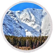 Snowy Ridge Round Beach Towel