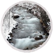 Snowy River At Mt. Hood Round Beach Towel