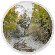 Snowy Road In Fall Round Beach Towel