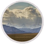 Snowy Rocky Mountains County View Round Beach Towel