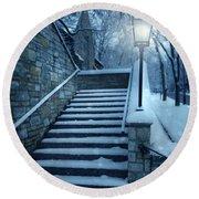 Snowy Stairway Round Beach Towel