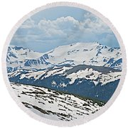 Snowy Terrain Near Top Of Trail Ridge Road In Rocky Mountain Np-co   Round Beach Towel
